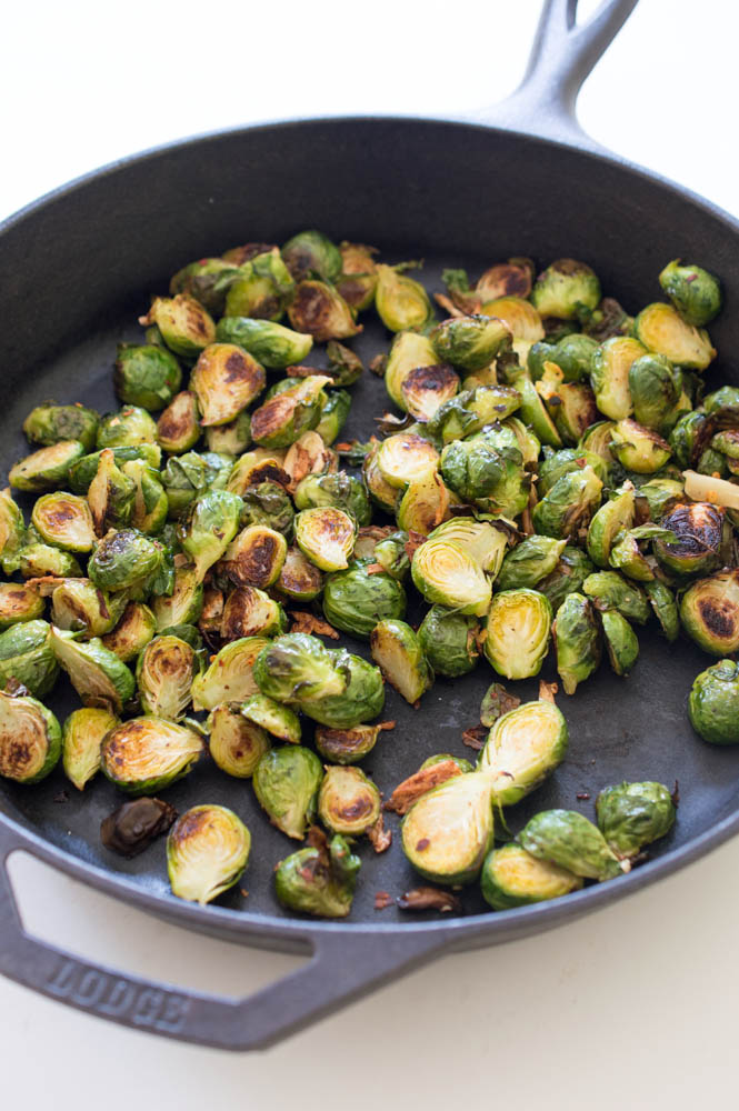 Spicy Roasted Garlic Brussels Sprouts | chefsavvy.com #recipe #healthy #vegetables #side