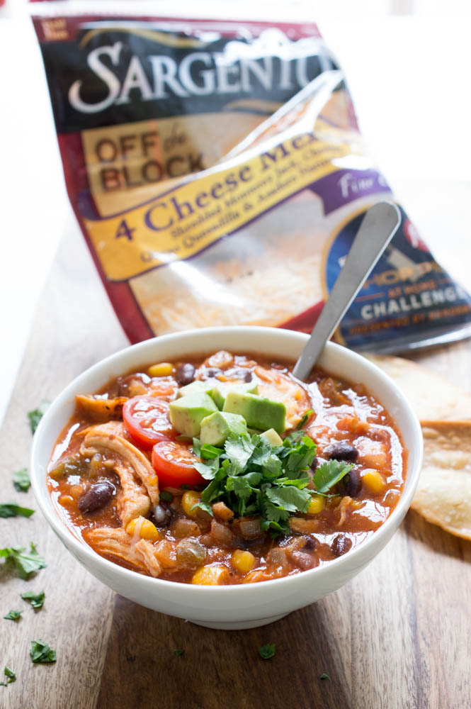 Cheesy Chicken Enchilada Soup with Couscous   chefsavvy.com #recipe #soup #chicken #enchilada #cheese