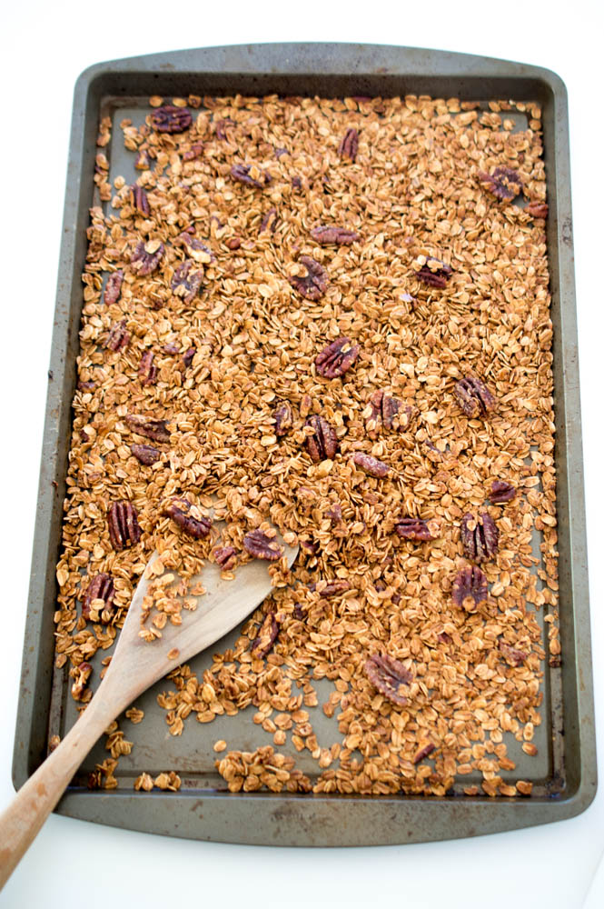 4 Ingredient Maple Pecan Granola | chefsavvy.com #recipe #breakfast #granola #healthy