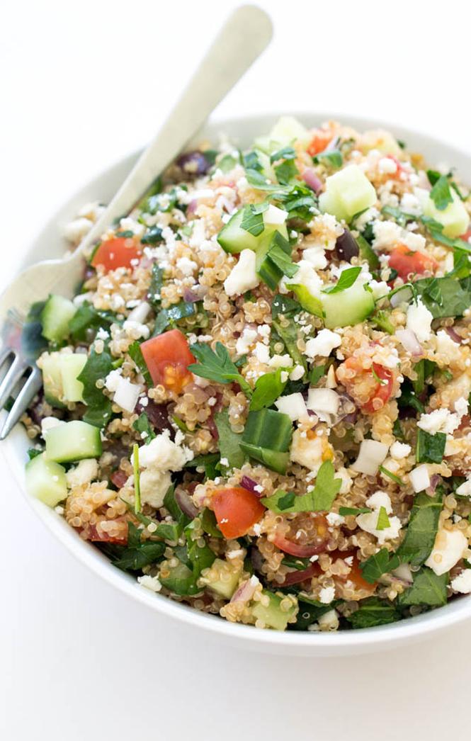 Greek Kale Quinoa Salad | chefsavvy.com #recipe #kale #quinoa #salad #healthy #vegetarian