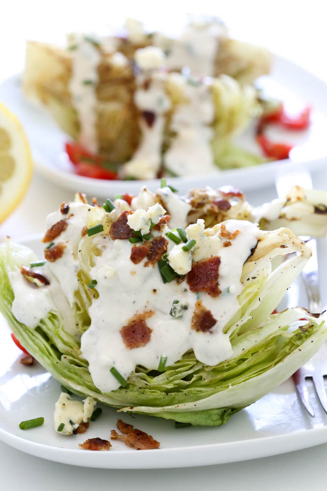 Grilled BLT Wedge Salad with Blue Cheese Dressing