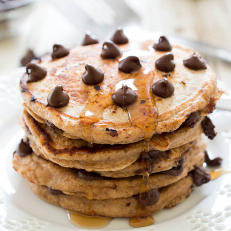 Healthy Whole Wheat Chocolate Chip Pancakes