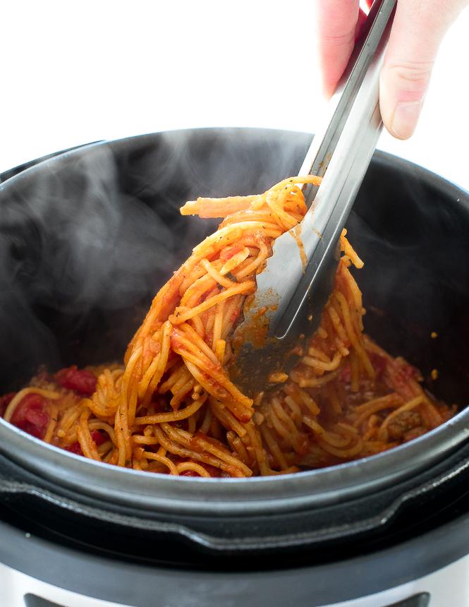 Easy Instant Pot Beef Spaghetti | chefsavvy.com