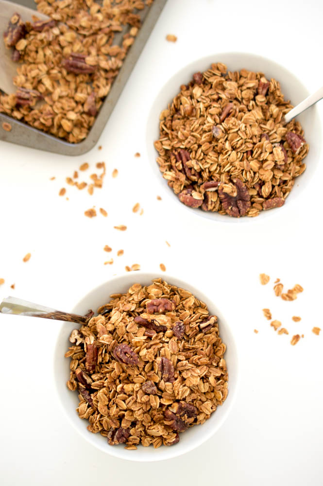 Maple Pecan Granola | chefsavvy.com #recipe #breakfast #granola #healthy