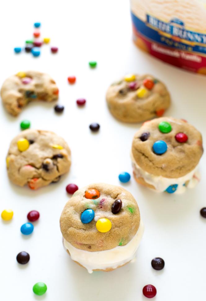 Peanut Butter M&M Ice Cream Cookie Sandwiches