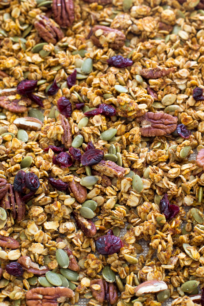 Pumpkin Pecan Granola with Dried Cranberries and Pumpkin Seeds