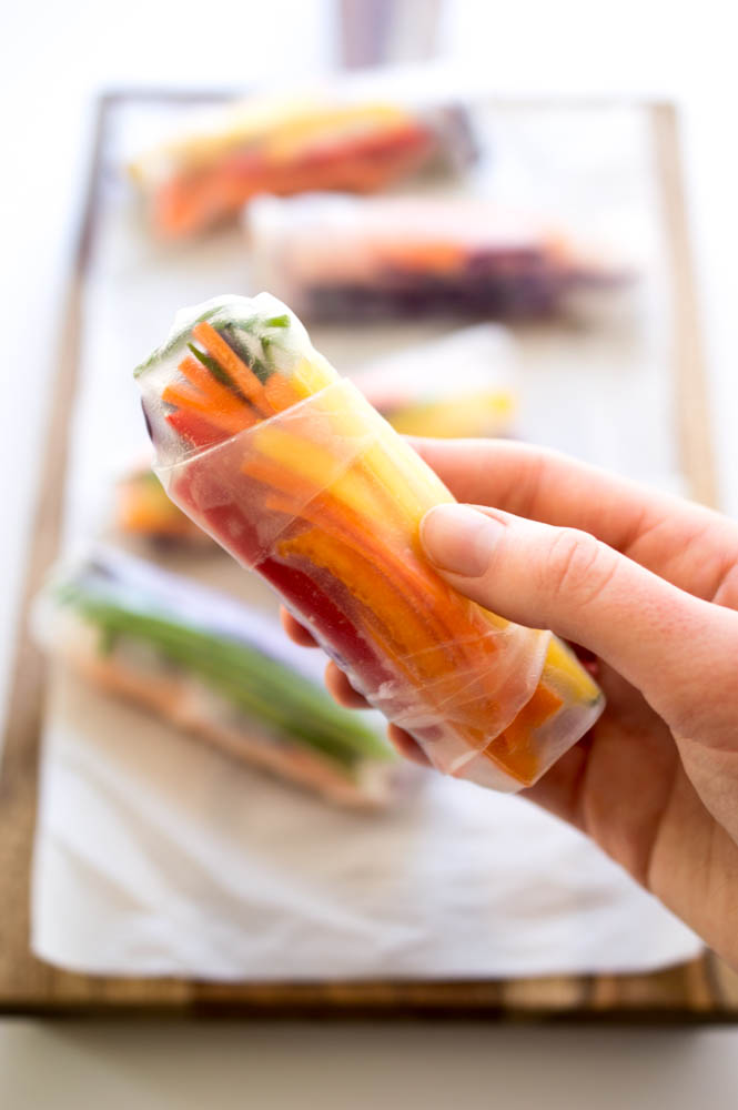 Super Easy 20 Minute Rainbow Vegetable Spring Rolls | chefsavvy.com #recipe #appetizer #healthy #vegan