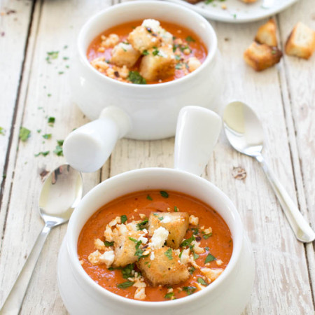 Creamy Roasted Red Pepper and Tomato Soup
