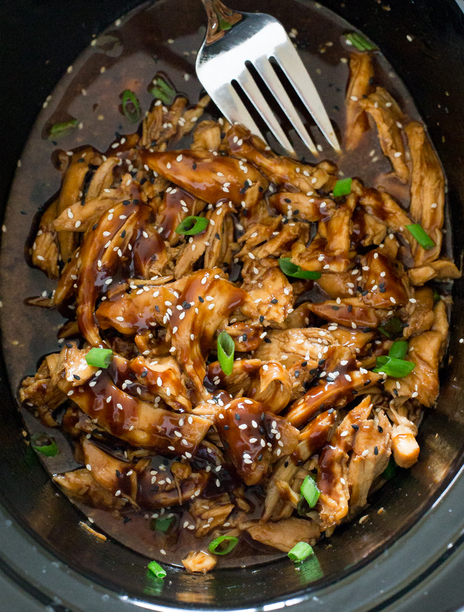 Easy Slow Cooker Honey Garlic Chicken | chefsavvy.com