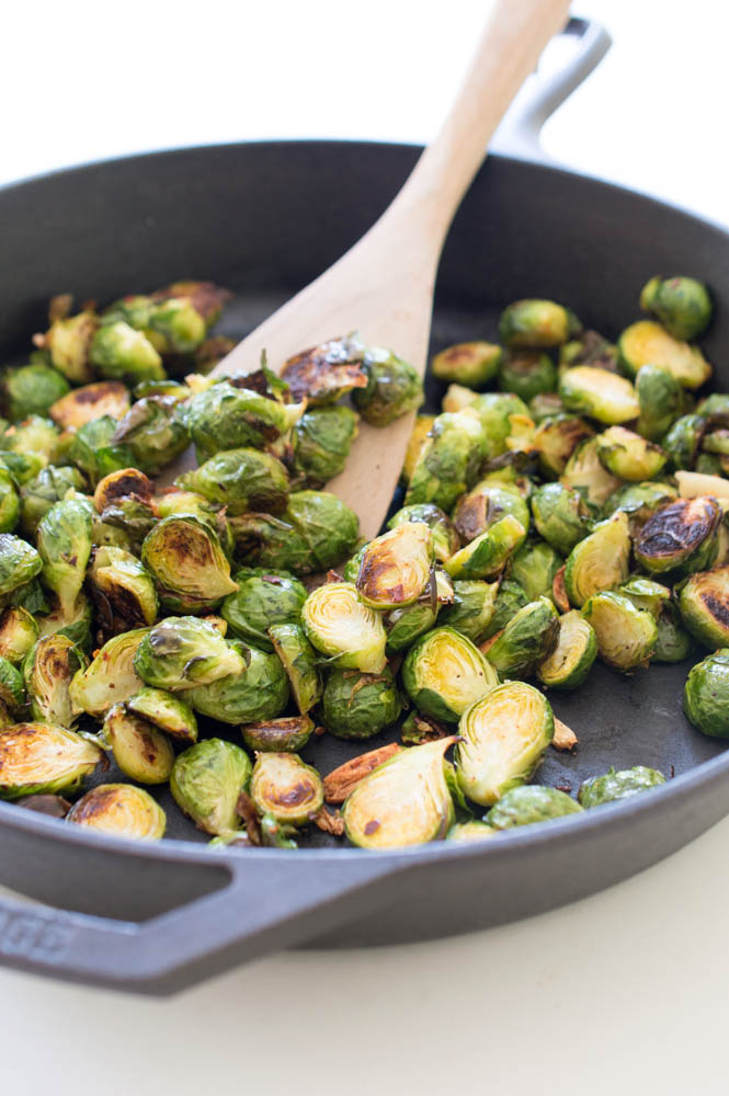 Spicy Roasted Garlic Brussels Sprouts | chefsavvy.com #recipe #healthy #vegetable #side