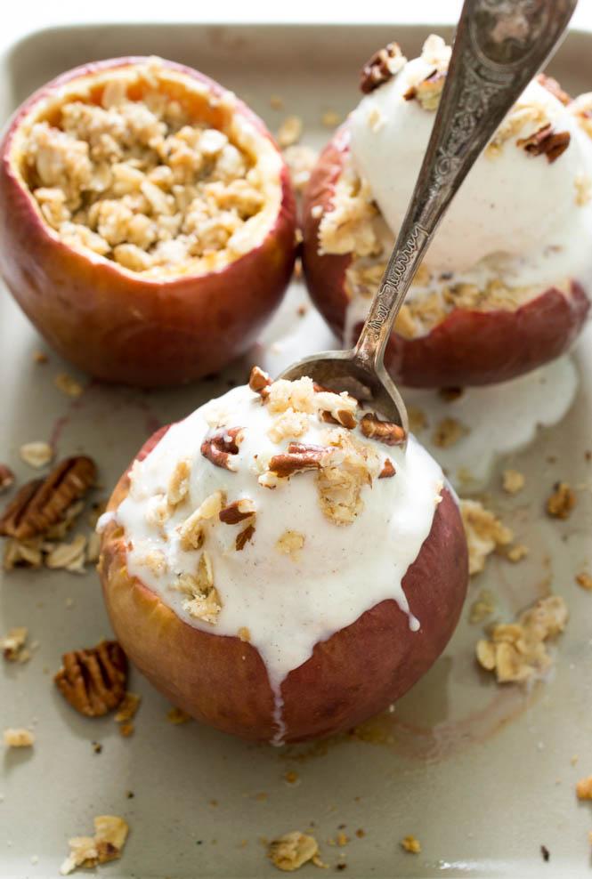 Stuffed Baked Apple Crisp | chefsavvy.com #recipe #dessert #baked # ...