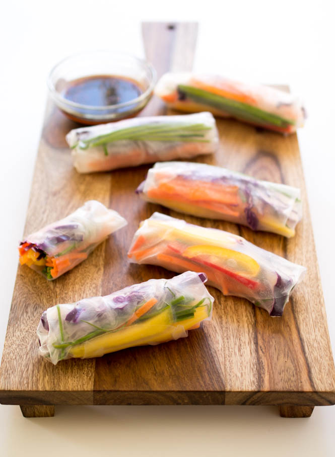 20 Minute Rainbow Vegetable Spring Rolls | chefsavvy.com #recipe #appetizer #healthy #vegan