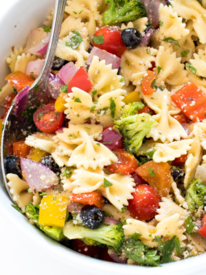 Easy Bow Tie Pasta with Roasted Veggies — chefsavvy.com
