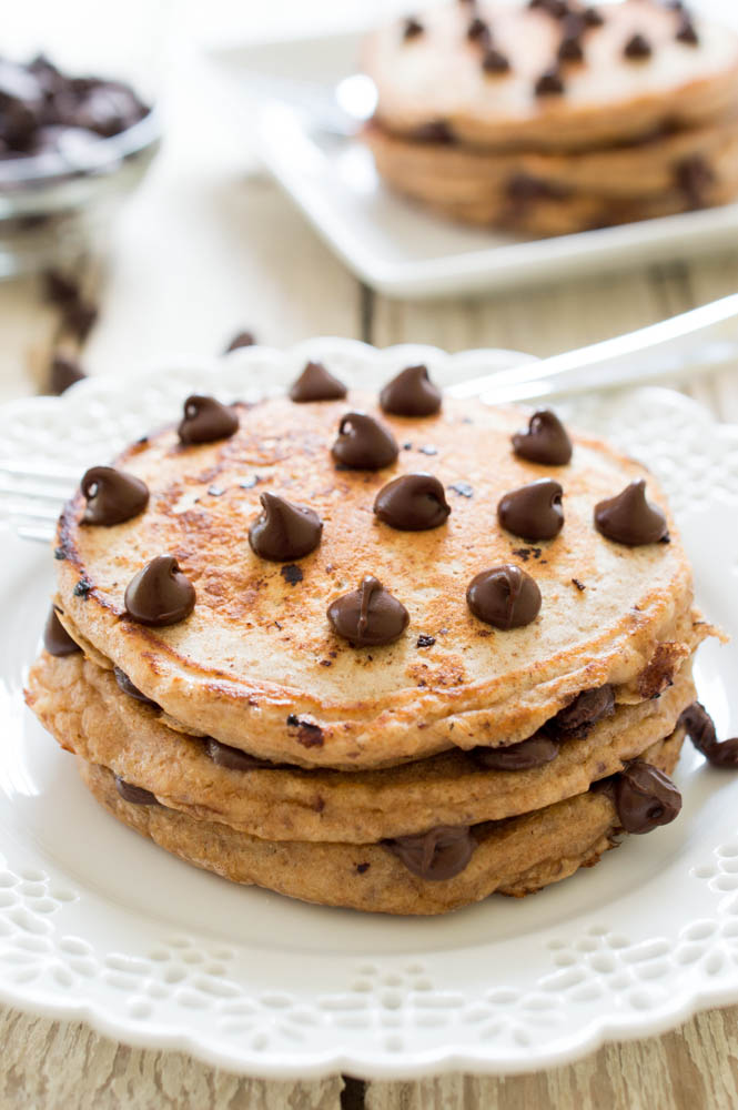 Healthy Whole Wheat Chocolate Chip Pancakes | #breakfast #pancakes #recipe #healthy #whole #wheat