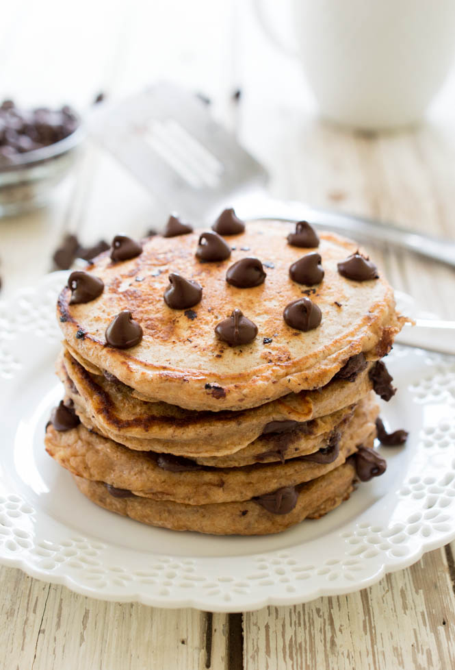 Healthy Whole Wheat Chocolate Chip Pancakes | #breakfast #pancakes # ...